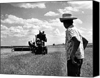 Rural Texas Canvas Prints - L.b. Selleck Stands On A  Combine Canvas Print by Everett