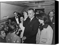 World Leader Canvas Prints - LBJ Taking The Oath On Air Force One Canvas Print by War Is Hell Store