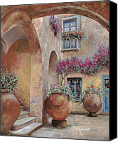 Vases Canvas Prints - Le Arcate In Cortile Canvas Print by Guido Borelli