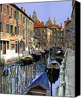 Venice Canvas Prints - Le Barche Sul Canale Canvas Print by Guido Borelli