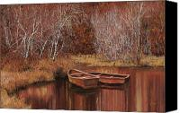 Pond Canvas Prints - Le Barche Sullo Stagno Canvas Print by Guido Borelli