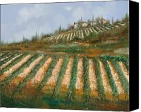 Vineyard Canvas Prints - Le Case Nella Vigna Canvas Print by Guido Borelli