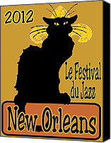 Chat Digital Art Canvas Prints - Le Chat Noir Jazz Fest 2012 Canvas Print by Jerry Schwehm
