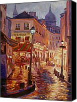 Street Scene Canvas Prints - Le Consulate Montmartre Canvas Print by David Lloyd Glover