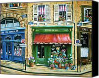 Corner Cafe Canvas Prints - Le Fleuriste Canvas Print by Marilyn Dunlap