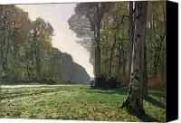 Monet Painting Canvas Prints - Le Pave de Chailly Canvas Print by Claude Monet
