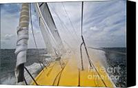Charleston Sc Harbor Tours Canvas Prints - Le Pingouin Charging Upwind Canvas Print by Dustin K Ryan
