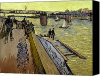 Architecture Painting Canvas Prints - Le Pont de Trinquetaille in Arles Canvas Print by Vincent Van Gogh