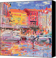 Yachts Painting Canvas Prints - Le Port de St Tropez Canvas Print by Peter Graham