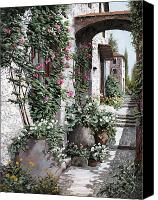 Vase Canvas Prints - Le Rose Rampicanti Canvas Print by Guido Borelli
