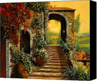 Tuscany Painting Canvas Prints - Le Scale   Canvas Print by Guido Borelli
