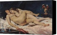 Table Canvas Prints - Le Sommeil Canvas Print by Gustave Courbet