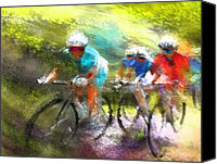 Impressionism Art Mixed Media Canvas Prints - Le Tour de France 11 Canvas Print by Miki De Goodaboom