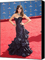 Nokia Theatre Canvas Prints - Lea Michele Wearing An Oscar De La Canvas Print by Everett