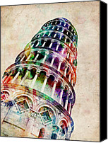 Landmark Canvas Prints - Leaning Tower of Pisa Canvas Print by Michael Tompsett