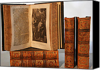 Antique Books Canvas Prints - Leather Bound I Canvas Print by Marcie Adams Eastmans Studio Photography