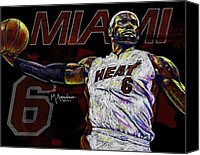 Athletes Canvas Prints - LeBron James Canvas Print by Maria Arango