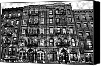Nyc Photo Canvas Prints - Led Zeppelin Physical Graffiti Building in Black and White Canvas Print by Randy Aveille