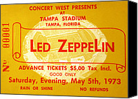 Tampa Canvas Prints - Led Zeppelin ticket Canvas Print by David Lee Thompson