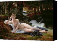 Myths Canvas Prints - Leda and the Swan Canvas Print by Francois Edouard Picot