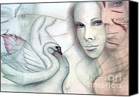 Rosy Hall Canvas Prints - Leda and the Swan Canvas Print by Rosy Hall