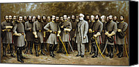 Civil War Painting Canvas Prints - Lee and His Generals Canvas Print by War Is Hell Store