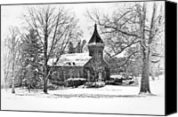 Snow Scenes Photo Canvas Prints - Lee Chapel February 2012 Series II Canvas Print by Kathy Jennings