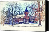 Snow Scenes Photo Canvas Prints - Lee Chapel February 2012 Series IV Canvas Print by Kathy Jennings