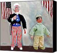 American Sculpture Canvas Prints - Lefty And Sam Canvas Print by David Wiles