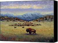 Buffalo Painting Canvas Prints - Legend Canvas Print by Linda Hiller