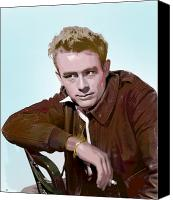 Rebel Mixed Media Canvas Prints - Legendary James Dean Canvas Print by Charles Shoup