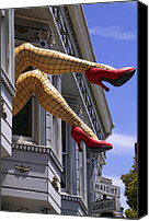 Houses Canvas Prints - Legs Haight Ashbury Canvas Print by Garry Gay