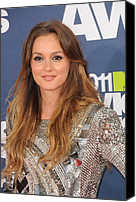 Mtv Canvas Prints - Leighton Meester Wearing A Balmain Canvas Print by Everett