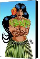 Polynesian Pop Canvas Prints - Leilani The Dragon Tattooed Wahine Canvas Print by Keith Tucker