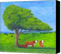 Cattle Pastels Canvas Prints - Leisure Time Canvas Print by Mendy Pedersen