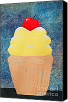 Decorating Mixed Media Canvas Prints - Lemon Cupcake With A Cherry On Top Canvas Print by Andee Photography