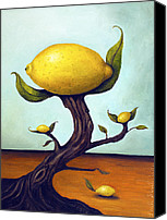 Lemon Painting Canvas Prints - Lemon Tree Canvas Print by Leah Saulnier The Painting Maniac