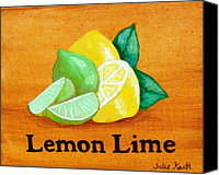 Fruits Drawings Canvas Prints - Lemons and Limes Canvas Print by Julie Kraft