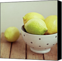 Israel Canvas Prints - Lemons In Bowl Canvas Print by Copyright Anna Nemoy(Xaomena)
