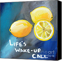 Lemon Canvas Prints - Lemons Canvas Print by Linda Woods