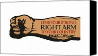 War Effort Canvas Prints - Lend Your Strong Right Arm To Your Country Canvas Print by War Is Hell Store