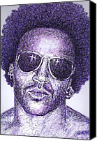 Singer Drawings Canvas Prints - Lenny Kravitz Canvas Print by Maria Arango