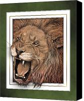 Lion Digital Art Canvas Prints - Leo Canvas Print by Jim Turner