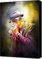 Singer Digital Art Canvas Prints - Leonard Cohen 02 Canvas Print by Miki De Goodaboom