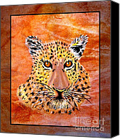 Portraits Tapestries - Textiles Canvas Prints - Leopard Late Afternoon Canvas Print by Sylvie Heasman