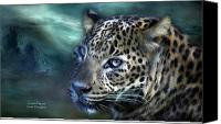 Leopard Mixed Media Canvas Prints - Leopard Moon Canvas Print by Carol Cavalaris