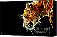 Leopard Mixed Media Canvas Prints - Leopard Canvas Print by The DigArtisT