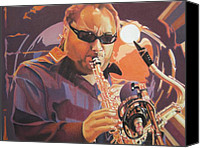The Dave Matthews Band Canvas Prints - Leroi Moore purple and Orange Canvas Print by Joshua Morton