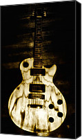 Fender Digital Art Canvas Prints - Les Paul Guitar Canvas Print by Bill Cannon