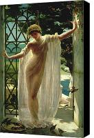 Greece Painting Canvas Prints - Lesbia Canvas Print by John Reinhard Weguelin